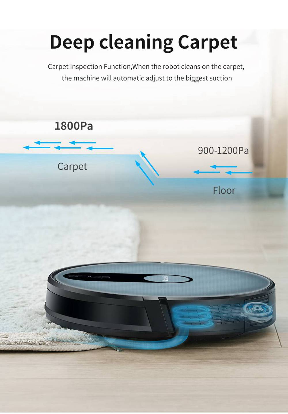 Proscenic 820P Robot Vacuum Cleaner 1800Pa Strong Suction Alexa and APP Control with Wet Cleaning Function - Black