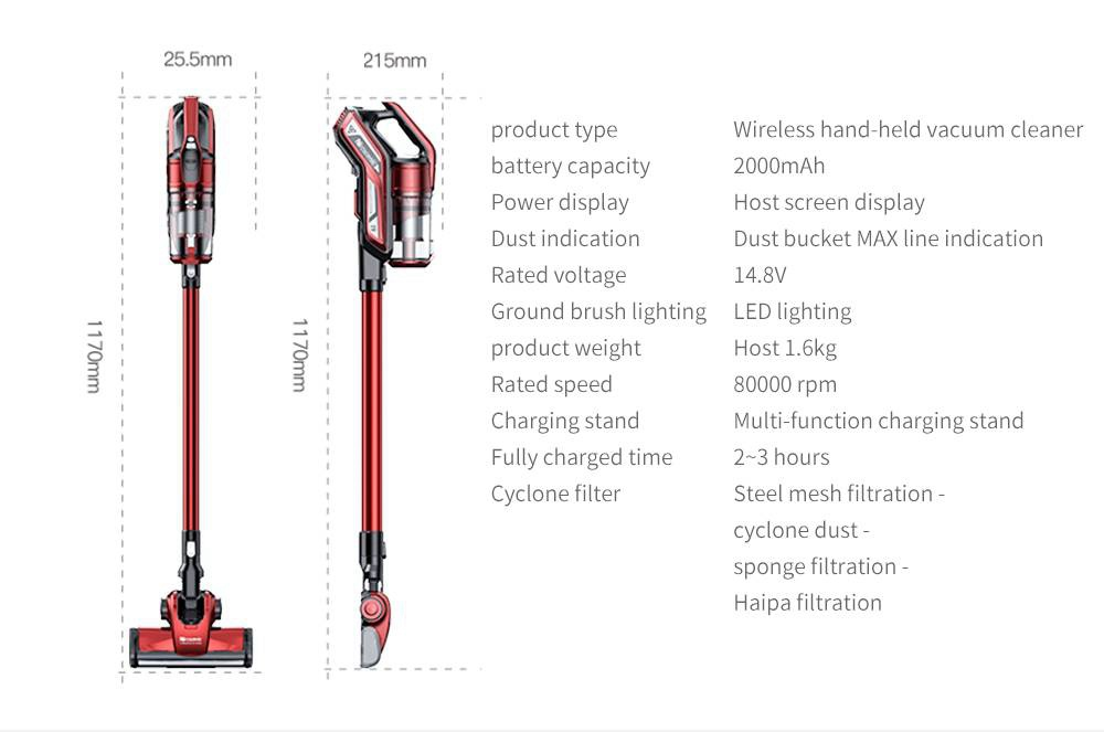 Proscenic I9 Cordless Vacuum Cleaner with LED Headlight 22KPa Powerful Suction 45 Minutes Running Time with Detachable Battery - Red