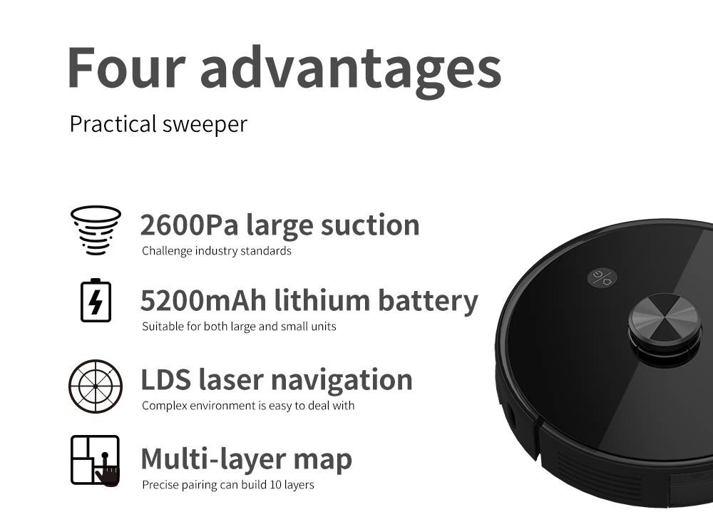Proscenic M7 Pro Robot Vacuum Cleaner LDS Laser Navigation 2600Pa Powerful Suction APP and Alexa Control Multi Mapping - Black