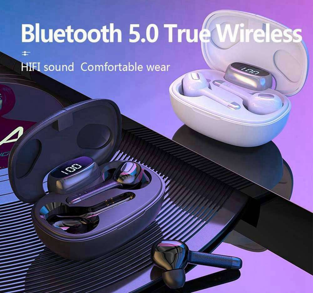 T9S Bluetooth 5.0 TWS Earphones HiFi Stereo With 380mAH Charging Case - White