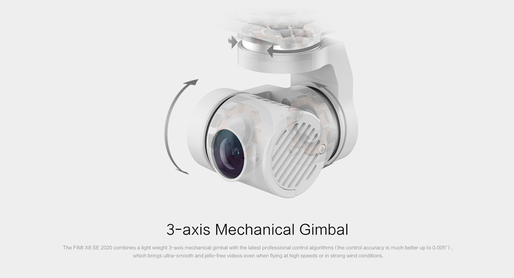Xiaomi FIMI X8 SE 2020 4K Camera 8KM GPS WiFi FPV Foldable RC Drone with 3-Axis Gimbal 35mins Flight Time RTF - White