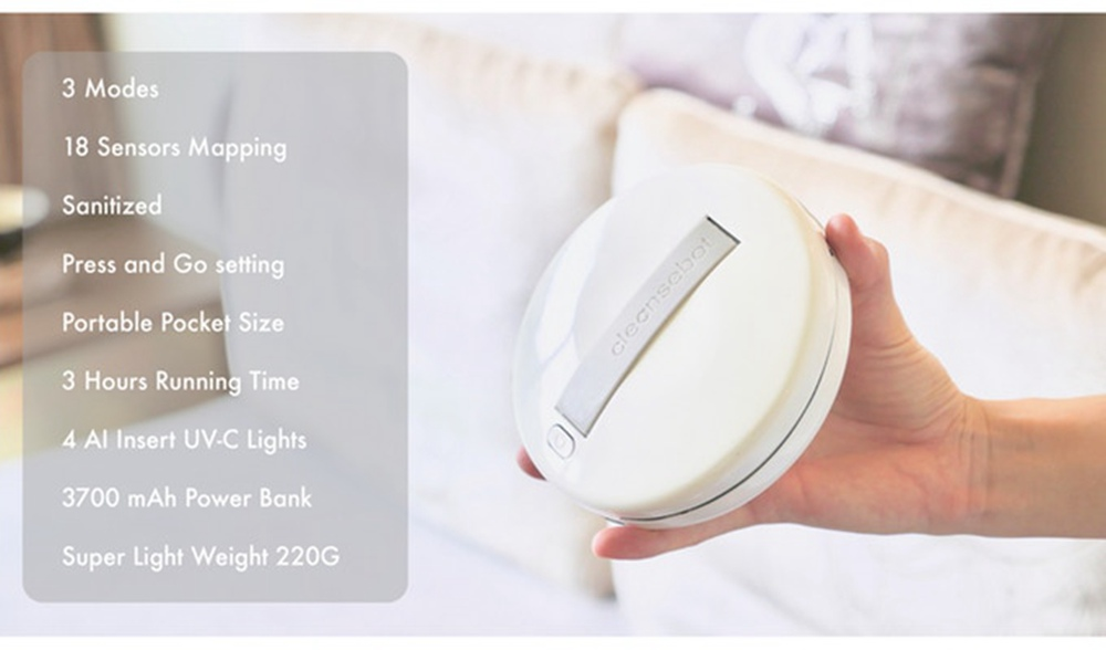 Cleansebot Portable Intelligent Sterilization Disinfection Robot AI Sensor USB Charging For Travel Pillowcases Mattresses Mobile Phones Toys Clean Mites - White