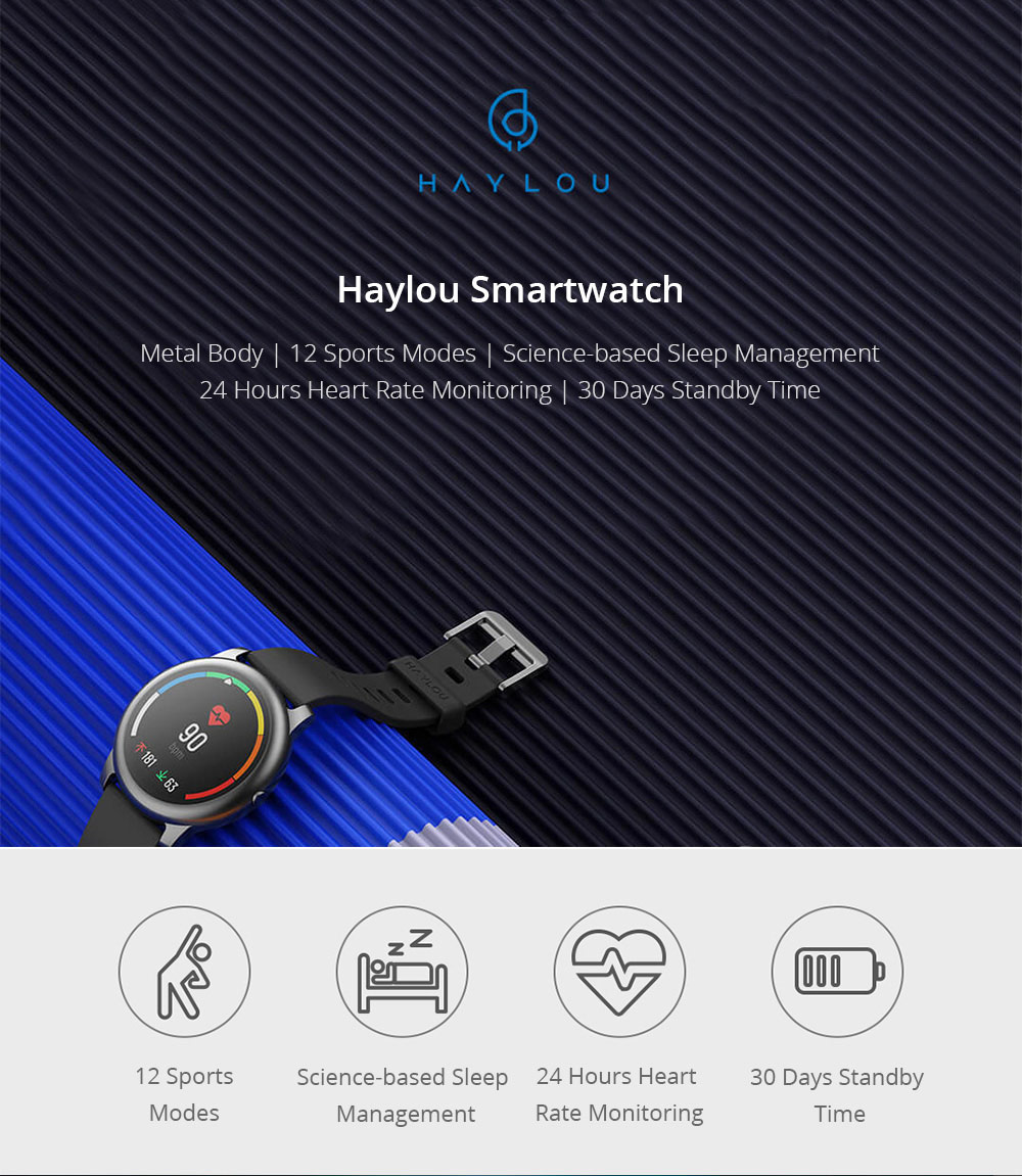 Haylou Solar 1.28 inch TFT Touch Screen Smartwatch IP68 Waterproof with Heart Rate Monitor Global Version - Black