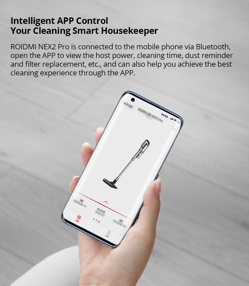ROIDMI NEX 2 Portable Wireless Handheld Vacuum Cleaner 26500Pa Strong Suction 435W Motor 2500mAh Battery OELD Color Screen APP Connect With LED Lights - White