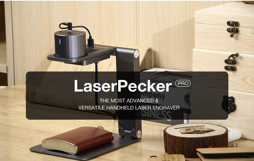 LaserPecker Pro Deluxe Smart Laser Engraver with Auto-focusing Support Stand  Smart Control Preview Mode Password Lock Overheat Shutdown Motion Detection Googles 10000+ Hours Lifespan