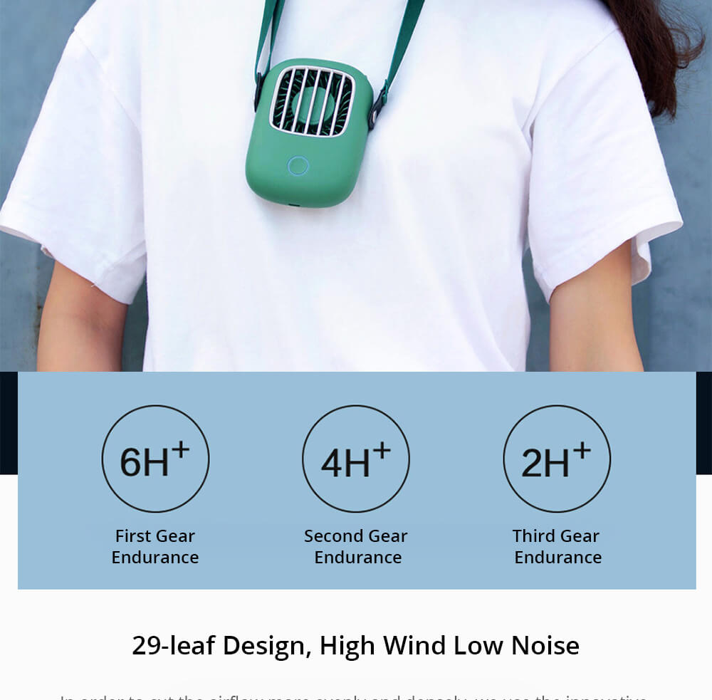 Lazy Portable Hanging Neck Handheld Small Fan Mute Wide Angle Wind USB Charging 1800mAh Battery - Orange