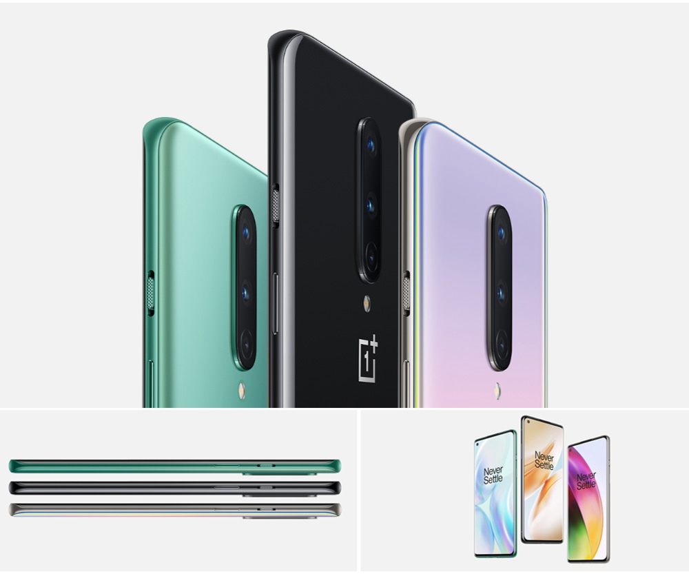 OnePlus 8 6.55 Inch Screen 5G Smartphone Qualcomm Snapdragon 865 Octa Core 8GB RAM 128GB ROM Android 10.0 Dual SIM Dual Standby Global ROM - Glacial Green