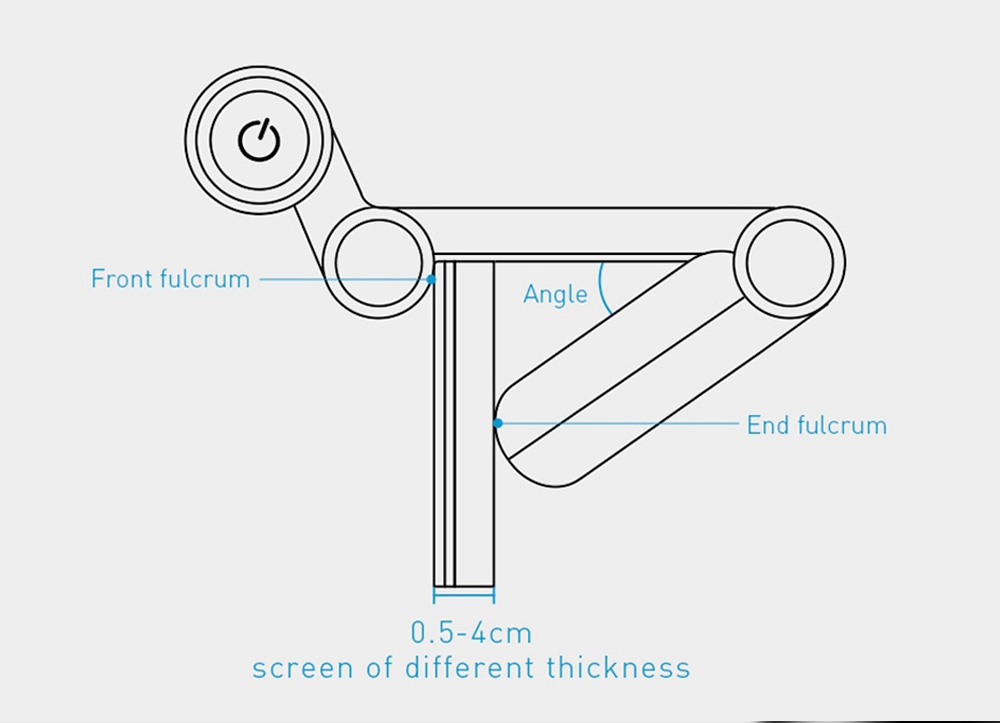Baseus USB Stepless Dimming Screen Hanging Light Adjustable Computer Eye Protection Lamp - Black