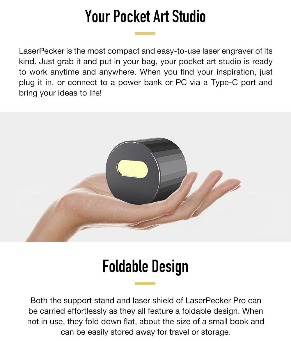LaserPecker Pro Portable Handheld Intelligent Laser Engraver Autofocusing Folding Smart Control Standard - Grey
