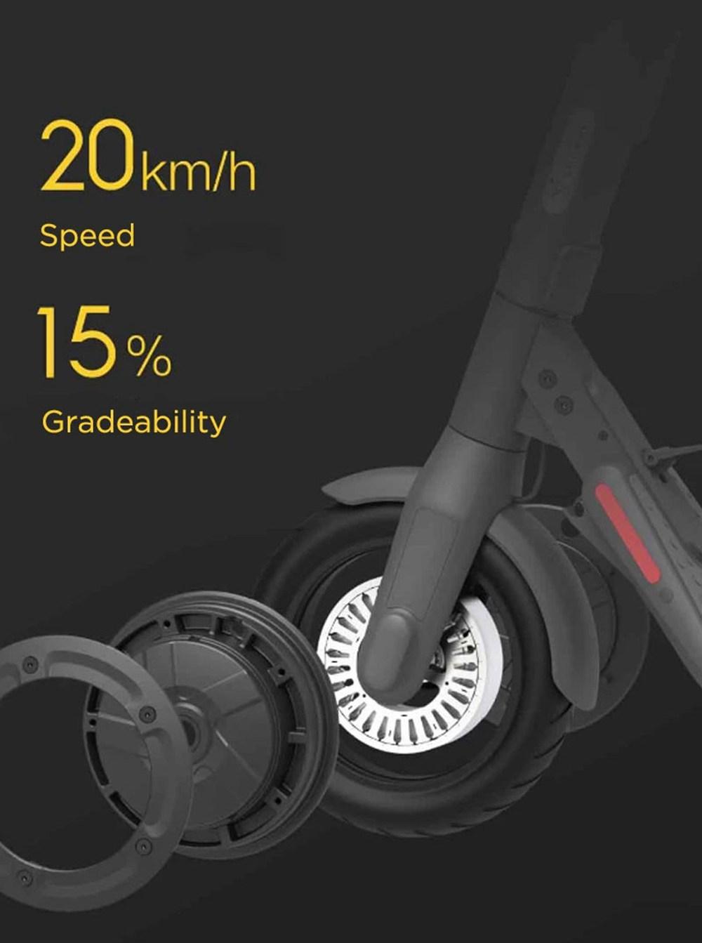 Scooter elettrico pieghevole Ninebot E22 300W Display a LED per motore brushless Max 20KM / H Pneumatico antiforatura sottovuoto da 9 pollici Tre modalità di guida - Nero