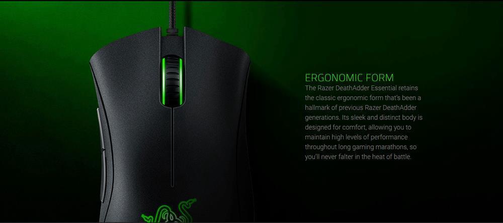 Razer DeathAdder Essential Optical Professional Grade Gaming Mouse Ergonomic 6400 Adjustable DPI - Black