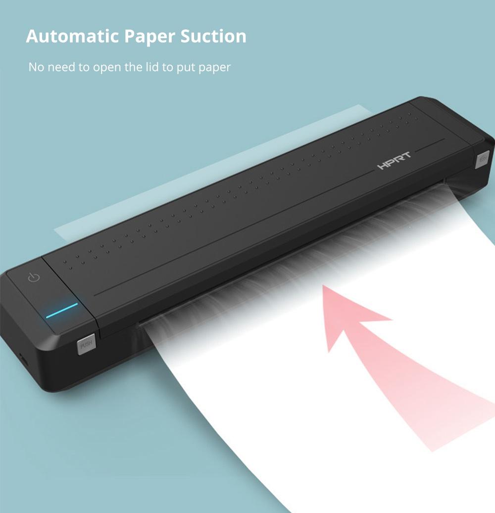 HPRT MT800 Portable Wireless Mini A4 Printer Bluetooth USB Connection 300DPI Resolution Multi-format Automatic Paper Suction 2000 mAh Battery - Black