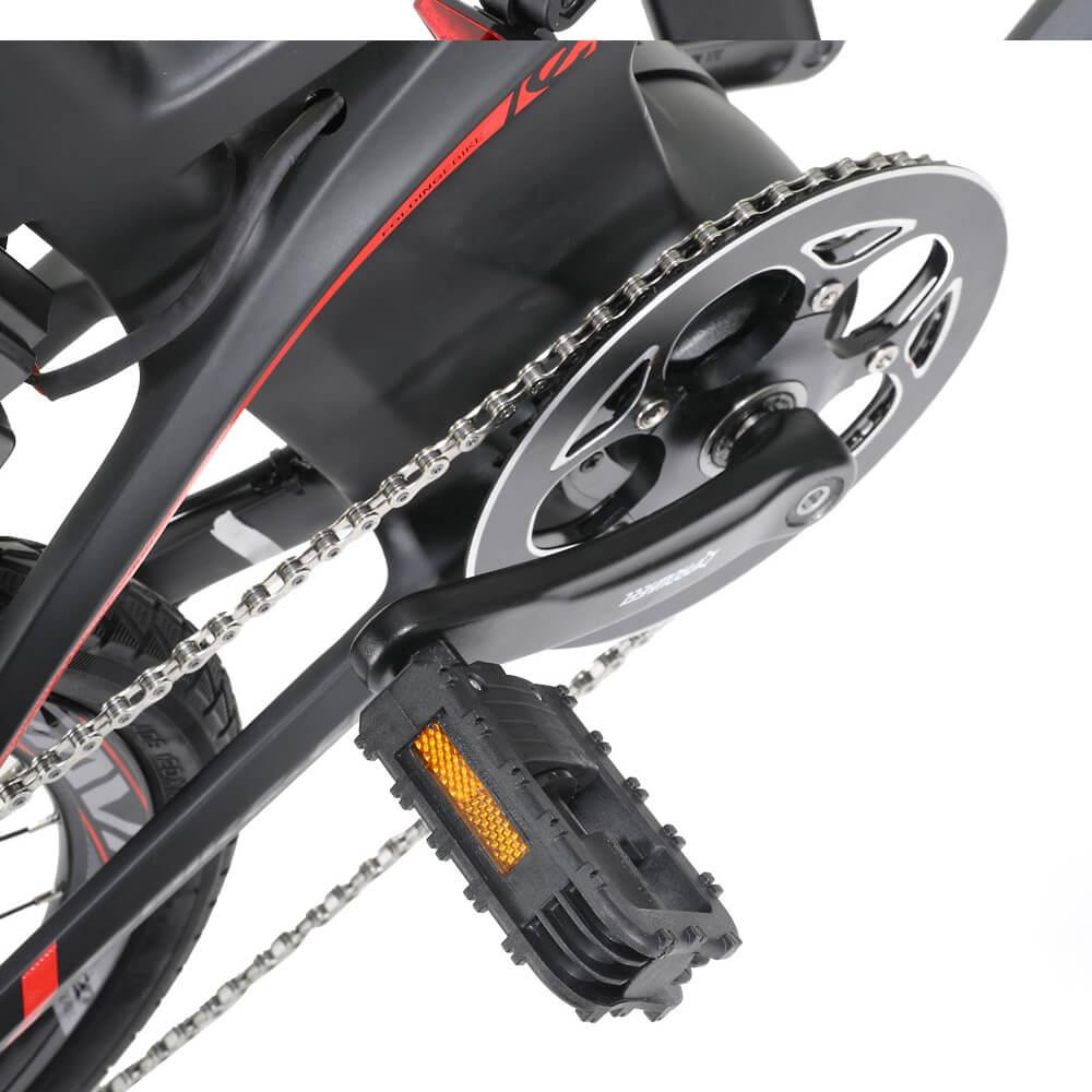 SAVA E8 20 Inch Folding Electric Bicycle TORAY T800 Carbon Fiber Frame YUEBO Motor 200W SHIMANO SORA R3000 Disc Brake Samsung 8.7AH Lithium Battery IP67 Multi-function Display Max Speed 25km/h Up To 70km Range - Black