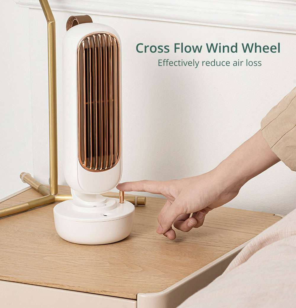 Summer Portable Desktop Spray Tower Fan Humidification Cooling Three Wind Speeds Smart Timing Silent Brushless Motor 220ml Water Tank USB Charging - White