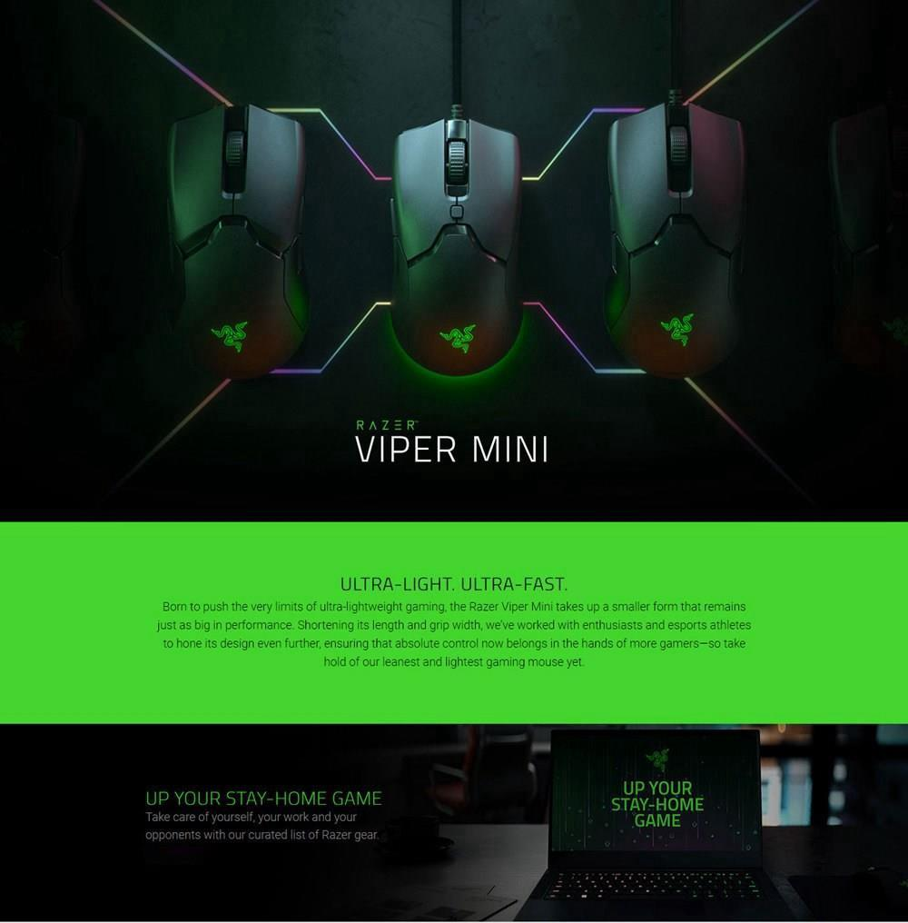 Razer Viper Mini RGB Gaming Mouse 8500 DPI Optical Sensor 6 Programmable Buttons 61G Ultra Light - Black