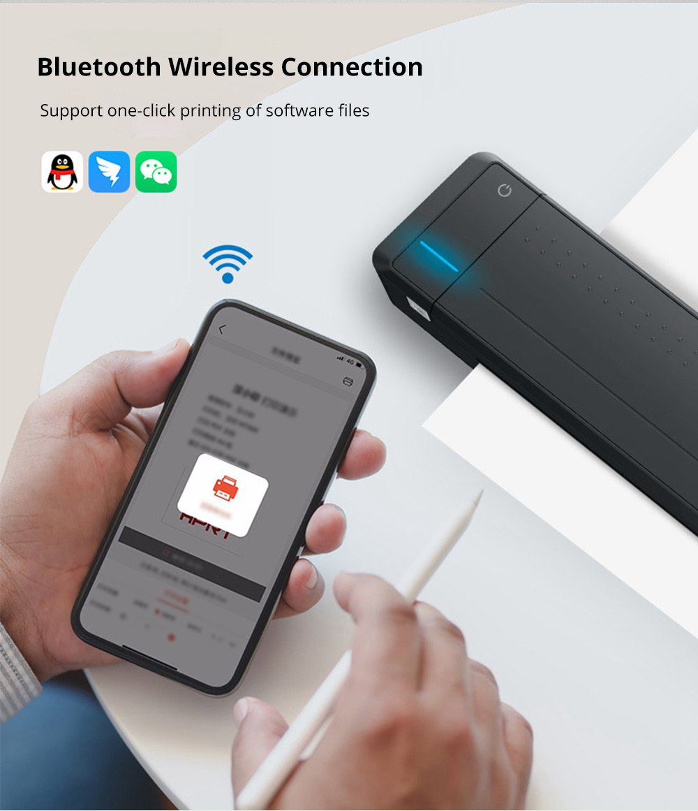 HPRT MT800 Portable Wireless Mini A4 Printer Bluetooth USB Connection 300DPI Resolution Multi-format Automatic Paper Suction 2000 mAh Battery - Black