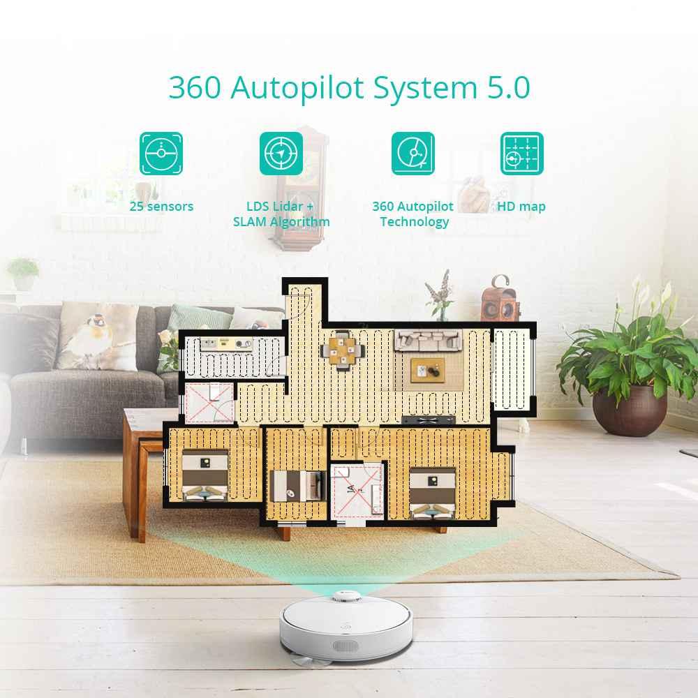 360 S9 intelligens robotporszívó felmosás 2200Pa szívó LDS Lidar 5200mAh akkumulátor 3 óra üzemidő 55dB csendes automatikus töltés - fehér