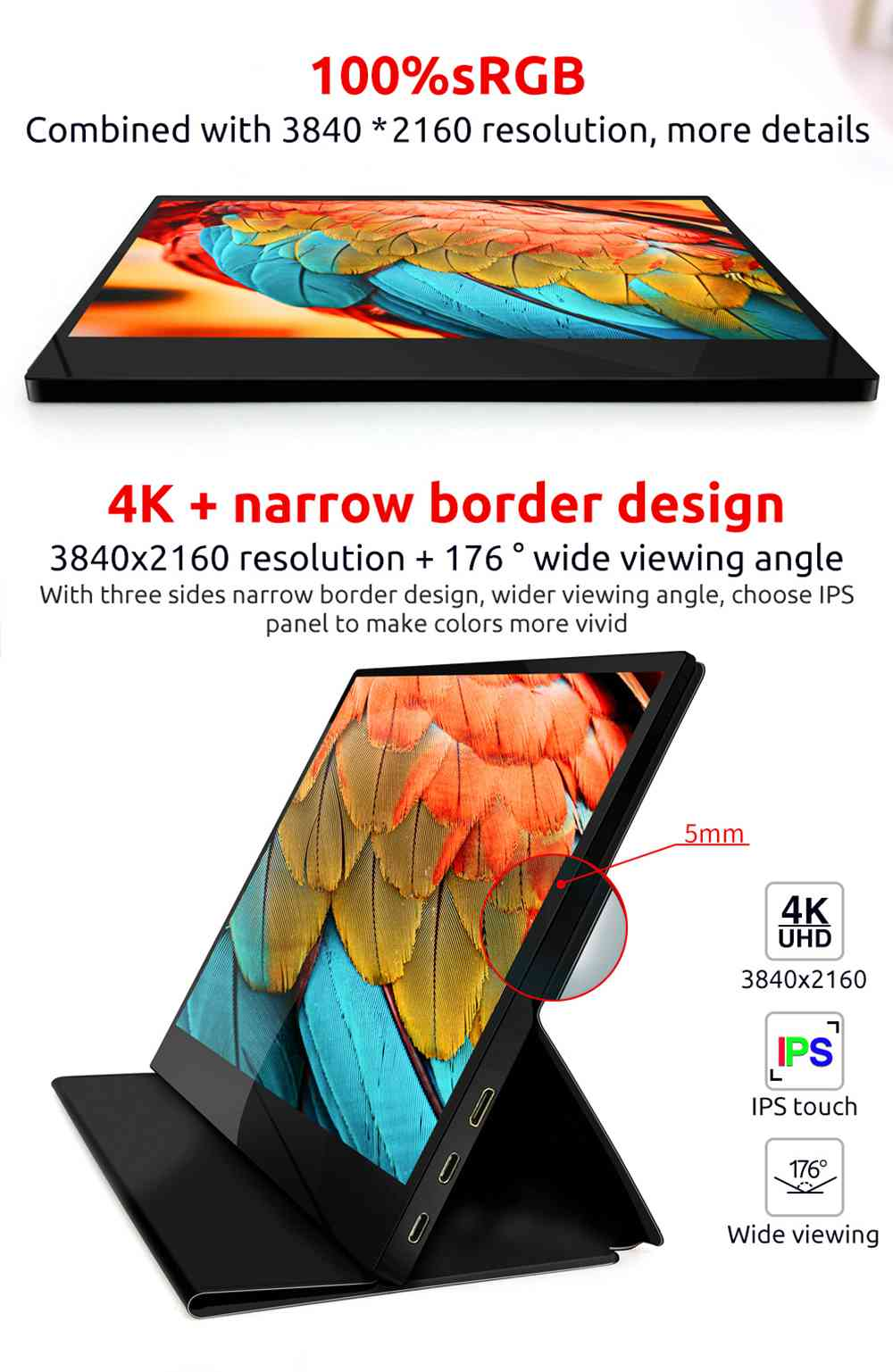 AOSIMAN ASM-125UC Portable Monitor 12.5 inch IPS Touch Screen 100% sRGB HDR 4K Full Metal Body Dual type-C+mini HDMI