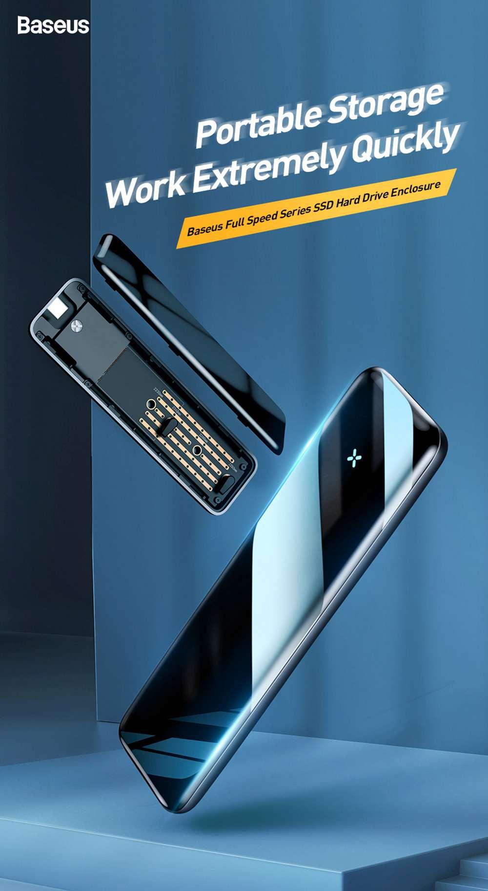 Baseus CAYPH-E0G M.2 NVMe USB3.0 SSD Enclosure Gray