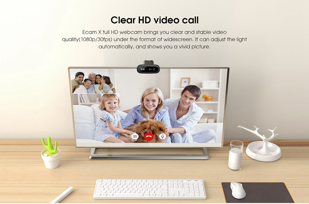Elephone Ecam X 1080P HD Webcam 5.0 MegaPixels Auto Focus Built-in Microphone For PC Laptop - Black