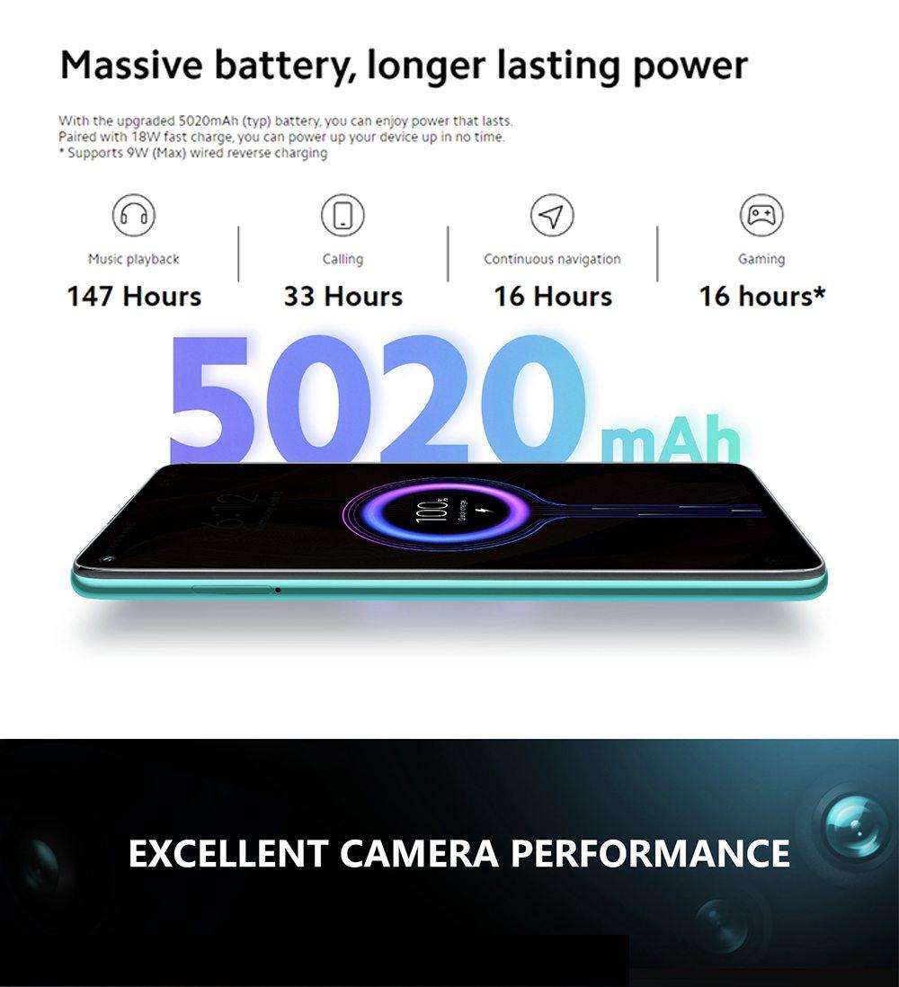 "Xiaomi Redmi Note 9 Global Version 6.53"" DotDisplay 4G LTE Smartphone MTK Helio G85 4GB RAM 128GB ROM Android 10.0 Quad Rear Camera 5020mAh Battery 18W Fast Charging  Dual SIM Dual Standby - Midnight Grey"