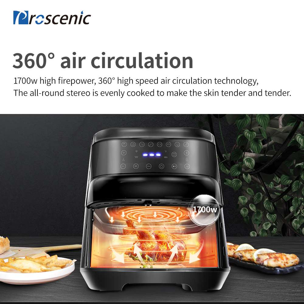 Proscenic T21 Smart Electric Air Fryer 1700W Oil-free Non-stick Pan Voice Control LED Touch Screen - Black
