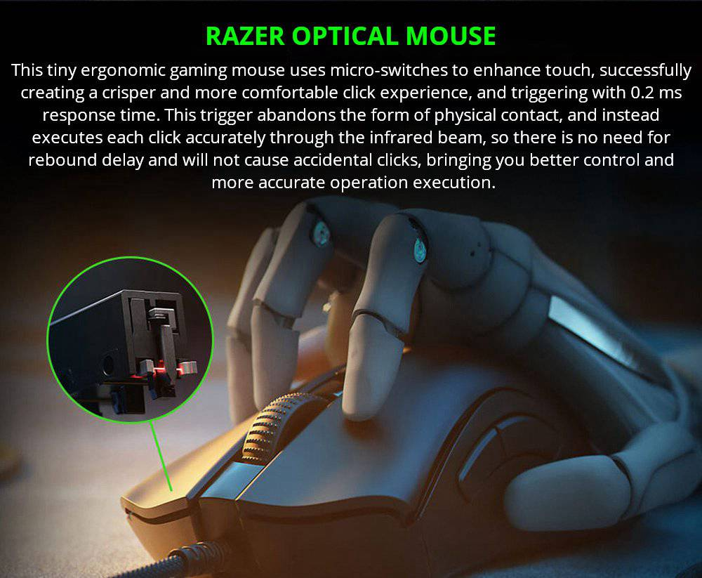 Razer DeathAdder V2 Mini RGB Gaming Mouse 8500DPI 6 Programmable Buttons 62g Ultralight - Black