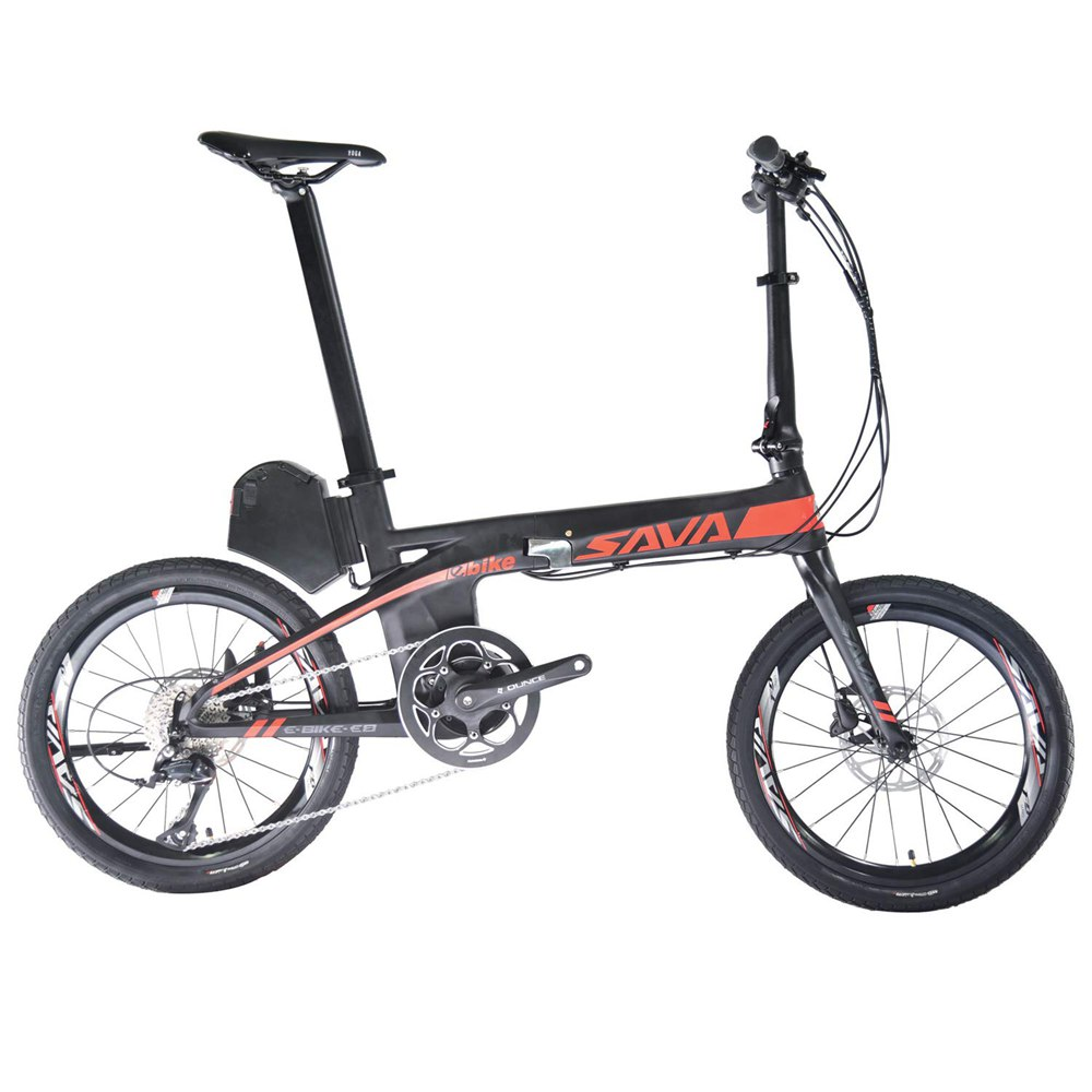 SAVA E8 Folding Electric Bicycle 20 Inch 200W Motor Max Speed 25km / h Up To 70km Range SHIMANO Transmission Removable 313Wh Samsung Lithium Battery IP67 Waterproof Multi-function Display - Black