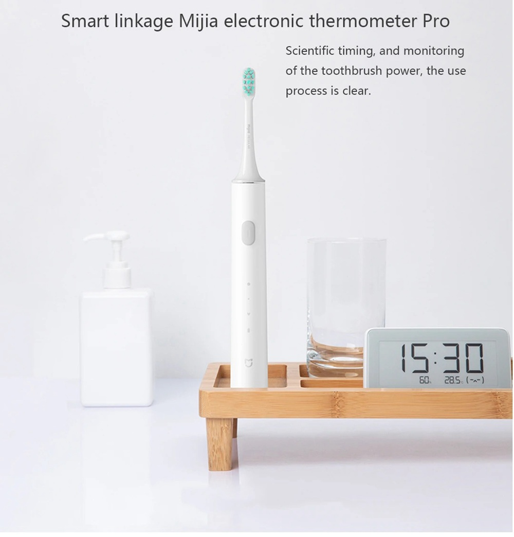 Xiaomi Mijia T500 Smart Sonic Electric Toothbrush 3 Speed Vibrazione ad alta frequenza Sterilizzazione UV IPX7 Batteria impermeabile 18 giorni