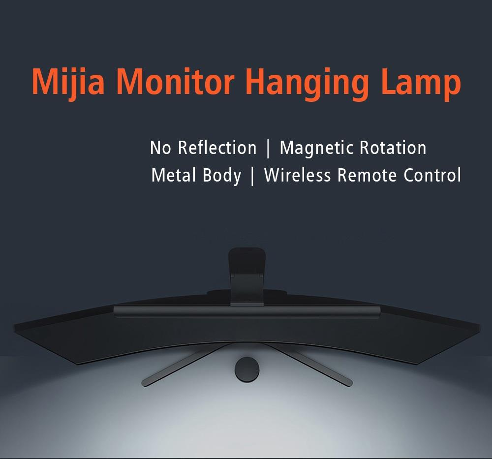 Xiaomi Mijia Display Hanging Lamp No Reflection Ra90 High Color Rendering Index Magnetic Rotation 2.4GHz Wireless Remote Control USB Charging Eye Protection - Black