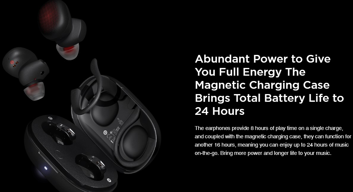 Amazfit PowerBuds Heart Rate Monitor ENC Dual-Microphone Noise Reduction Composite Diaphragm Motion Beat Mode IP55