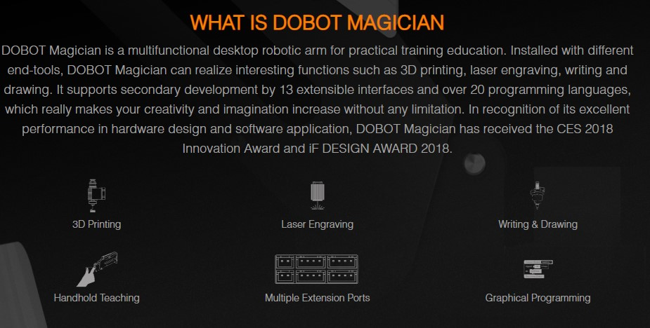 DOBOT Magician Educational Programming Robot Arm with 3D Printer, Laser Engraver, Pen Holder, Suction Cap, Gripper