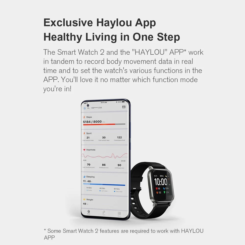 Haylou LS02 Smart Watch 1.4 Inch HD Screen Bluetooth 5.0 IP68 Waterproof - Global Version
