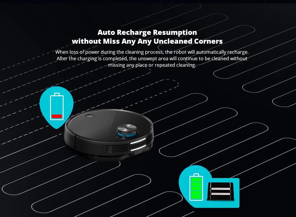Xiaomi Viomi V3 Smart AI Roboter Staubsauger 2600pa Absaugung 4900mAh Batterie 3 Modi 550ml Wassertank mit Einweg-Desinfektionslappenhalter 5 Karten - Schwarz