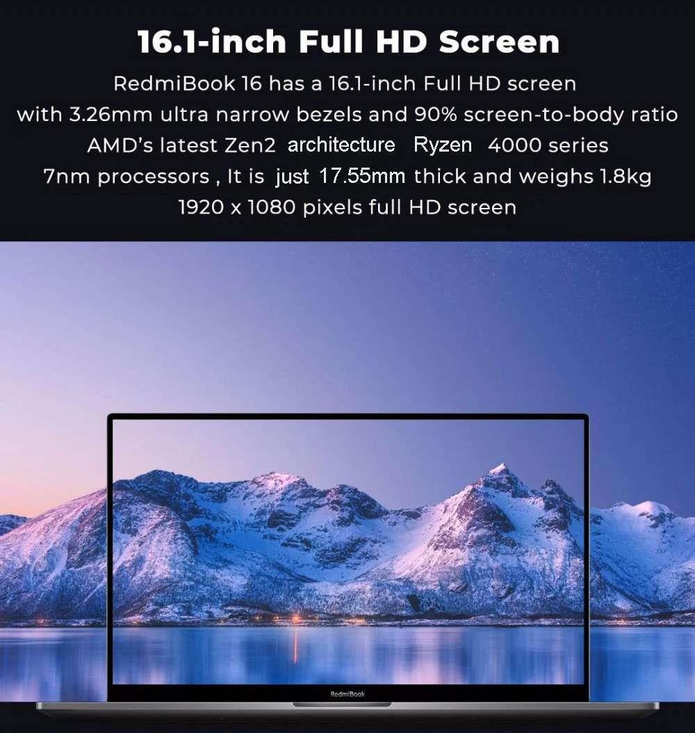 Xiaomi Redmibook 16 Ryzen Edition Ноутбук AMD Ryzen 7 4700U 16.1 дюйма 1920 x 1080 FHD экран Windows 10 16 ГБ DDR4 512 ГБ SSD полноразмерная клавиатура версия CN - серый