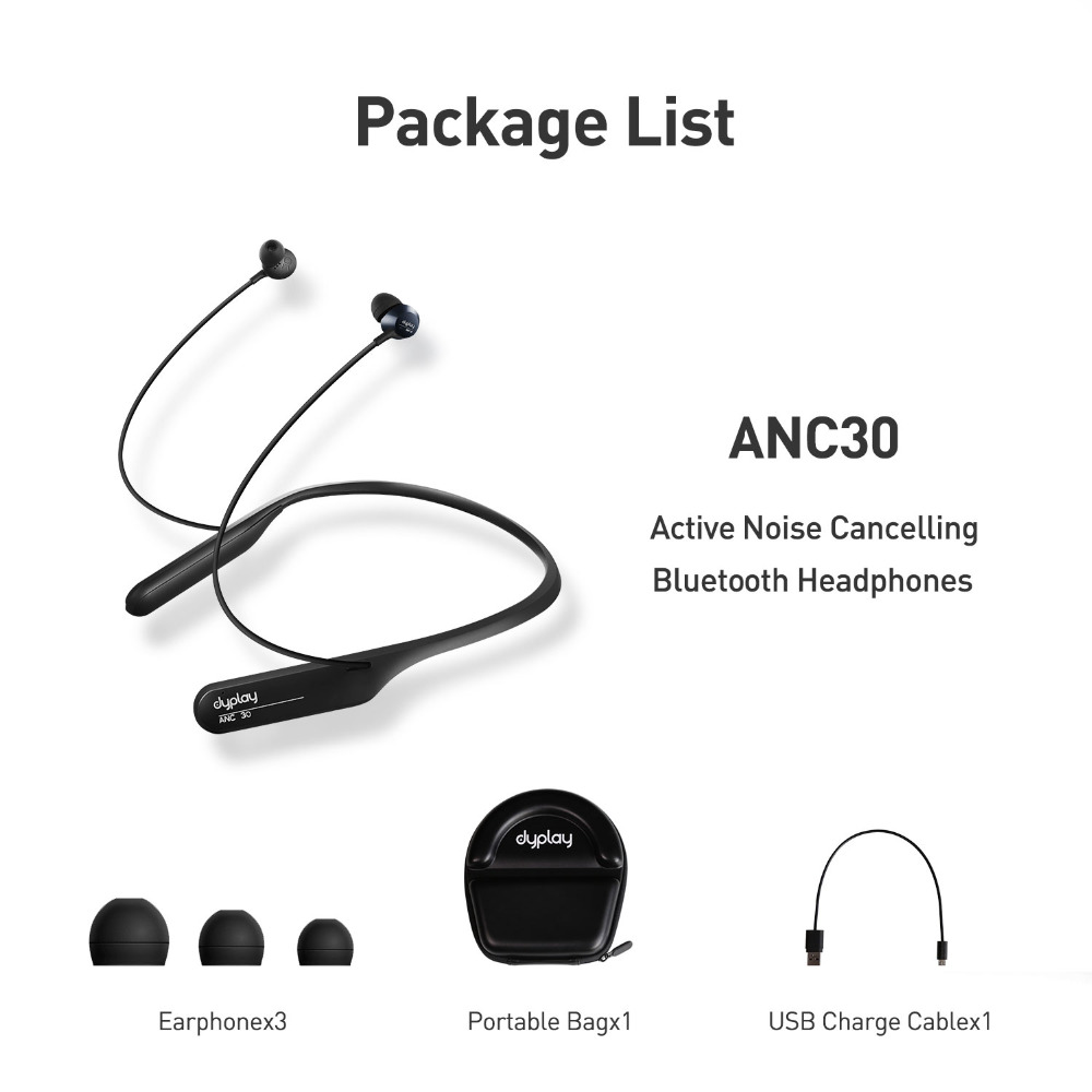 dyplay Active 30 Bluetooth Wireless Neckband Headset with Mic CSR ANC Active Noise Cancelling Call Reminder - Black