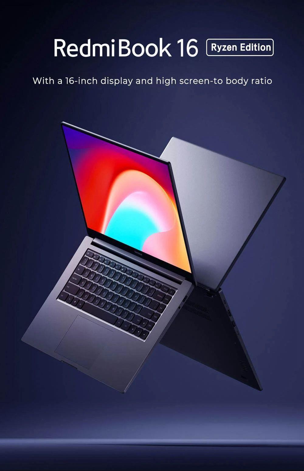 Xiaomi Redmibook 16 Ryzen Edition Laptop AMD Ryzen 7 4700U 16.1 Inch 1920 x 1080 FHD Screen Windows 10 16GB DDR4 512GB SSD Full Size Keyboard CN Version - Gray