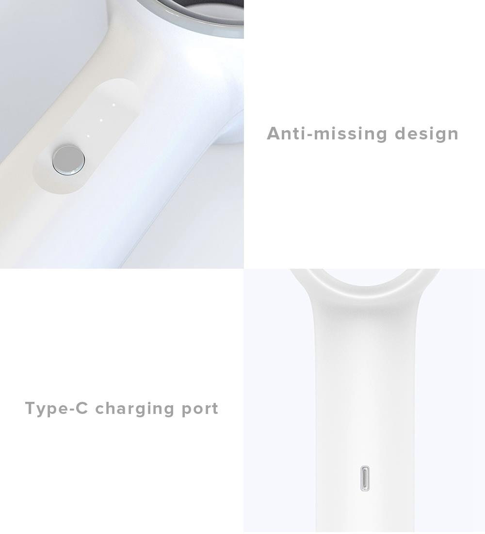 Weiyuan Smart Handheld Leafless Fan Noise Reduction Cooling Three Wind Speeds Two-stage Pressurized Air Supply 2000 mAh Battery USB Charging From Xiaomi Youpin - Beige Gray