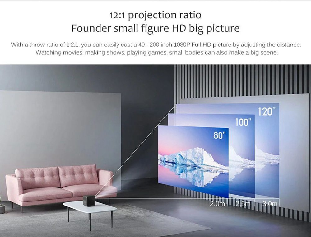 [International Edition] Fengmi Dice Native 1080P Projector 550 Ansi Lumens Dolby DTS Certified Android TV9.0  Amlogic T968-H