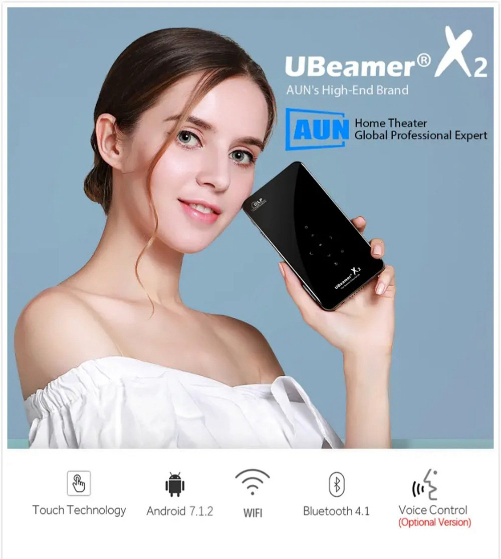 AUN X2 2GB/16GB Android7.1 Amlogic S905X Mini DLP Projector 854*480P 200 ANSI Lumens WIFI Support 1080P