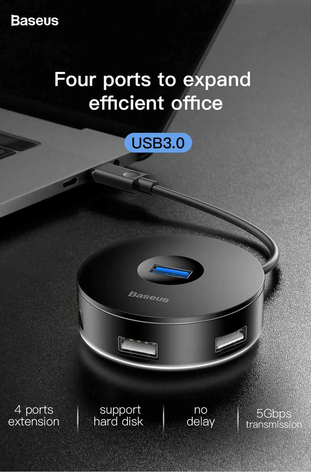 Baseus Round Box 4-in-1 Type-C HUB Adapter 12cm USB3.0 x 1 + USB2.0 x 3 Support 4TB SSD For Laptop Smartphone - Black
