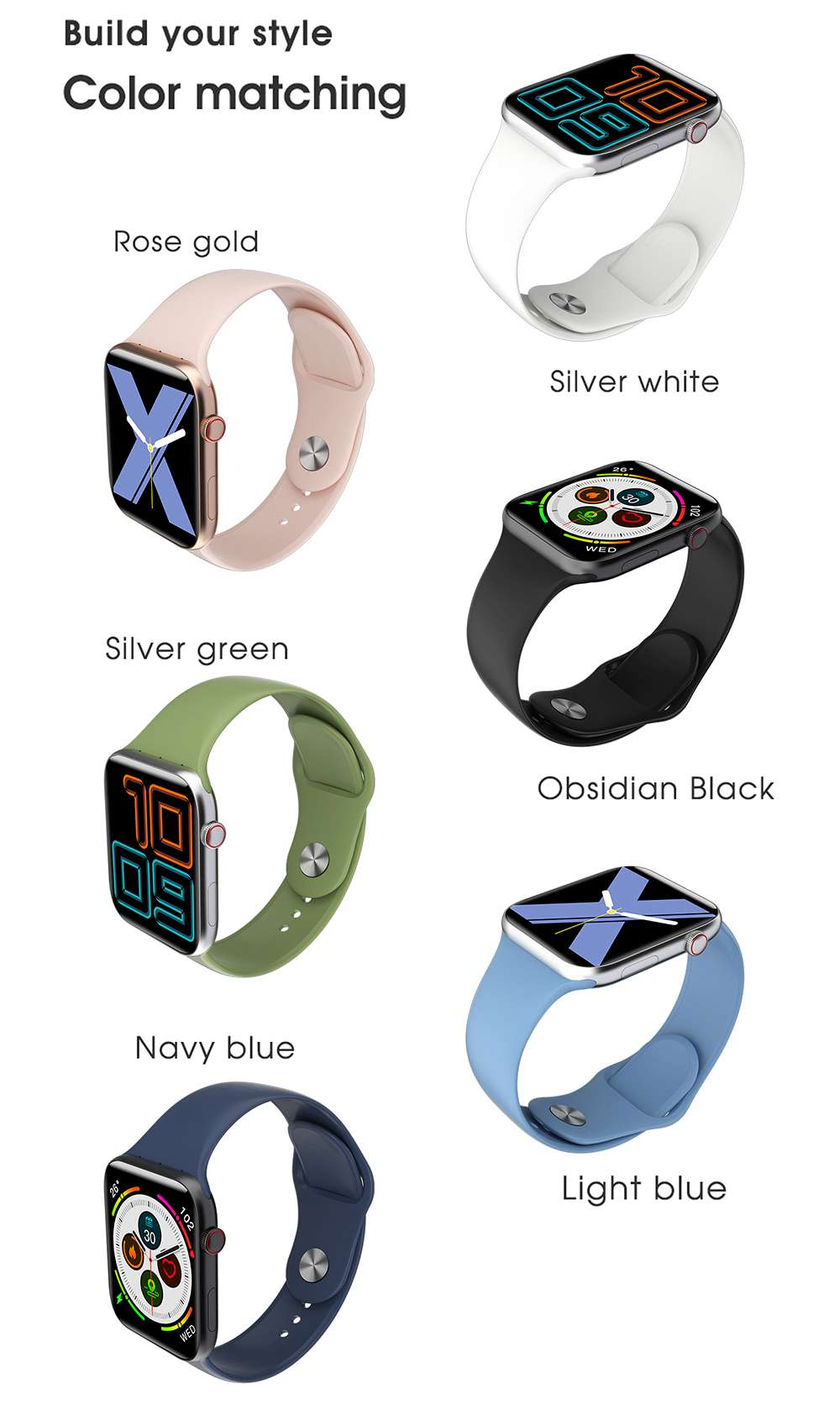 ELEPHONE W6 Smart Watch 1.54 Inch Screen Bluetooth 5.0 Heart Rate Monitor Smartwatch