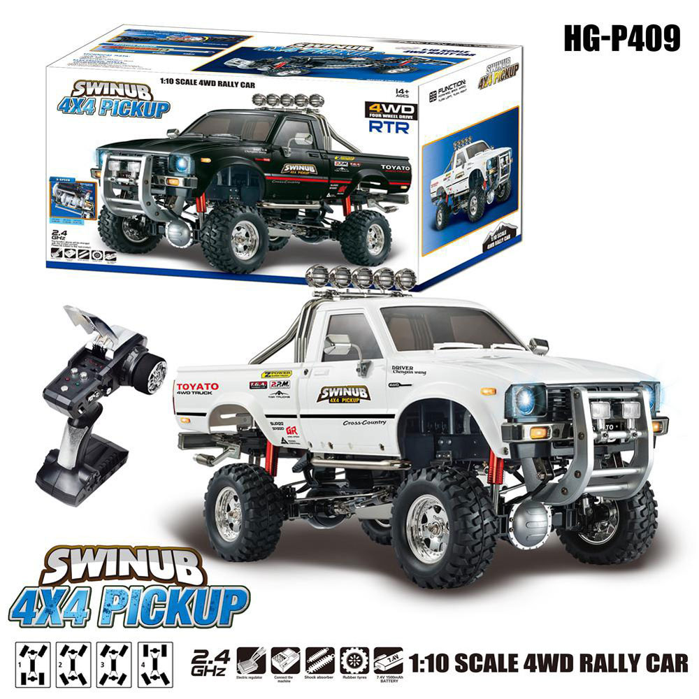 HG P409 1/10 2.4G 4WD RC Car Truck Rock Crawler without Battery Charger - Black
