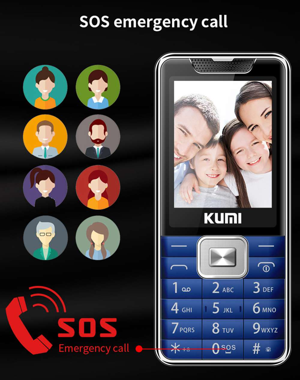 KUMI Mi1 English Version Function Phone 2.4 Inch TFT Screen 32MB RAM 32MB ROM 1700mAh Battery Dual SIM Dual Standby One Key SOS With Infrared Thermometer - Black