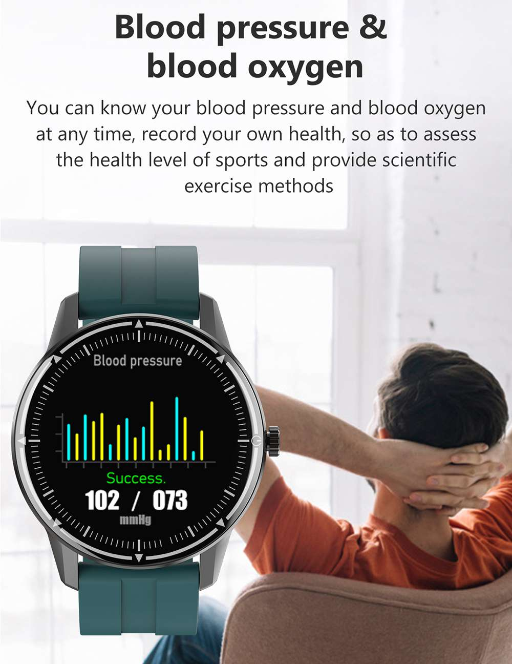 Makibes R8 Smart Watch 1.3 Inch IPS Touch Screen IP67 Heart Rate Blood Pressure Monitor - Black