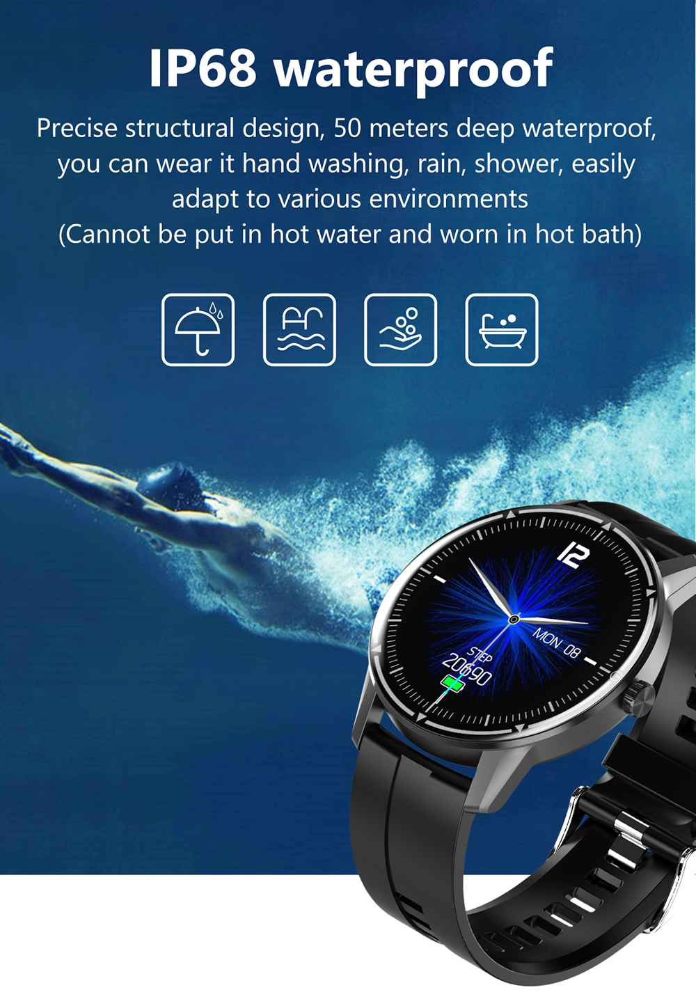 Makibes R8 Smart Watch 1.3 Inch IPS Touch Screen IP67 Heart Rate Blood Pressure Monitor - Green