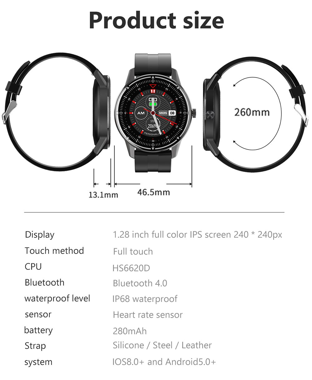 Makibes R8 Smart Watch 1.3 Inch IPS Touch Screen IP67 Heart Rate Blood Pressure Monitor - Orange