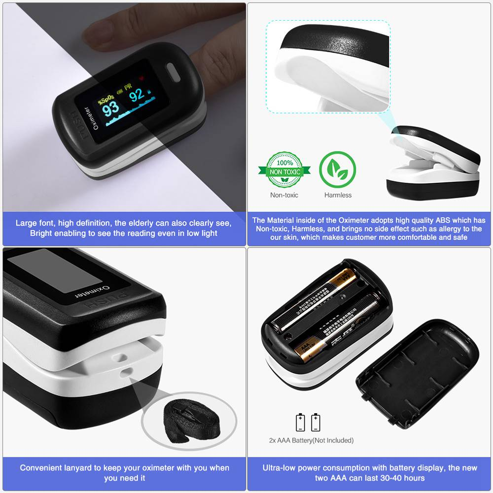 Portable Fingertip Oximeter Blood Oxygen Heart Rate Monitor LCD Display Home Physical Health Oximeter - Black + White