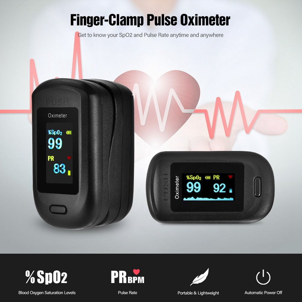 Portable Fingertip Oximeter Blood Oxygen Heart Rate Monitor LCD Display Home Physical Health Oximeter - Black
