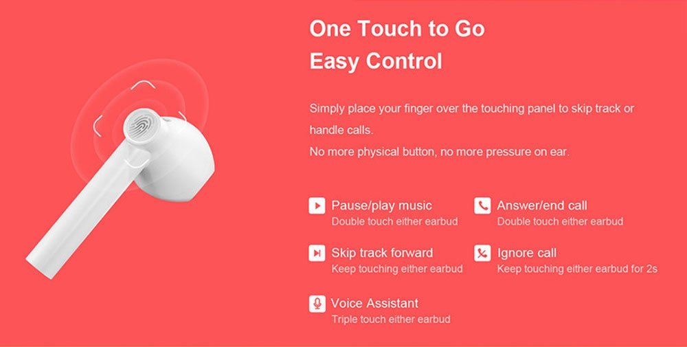 QCY T7 Wireless Bluetooth5.0 TWS Headset ENC Noise Reduction APP Customization Pop Up Pairing Wear Detection Independent Use- White